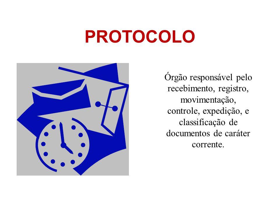 Órgão responsável pelo recebimento, registro, movimentação, controle, expedição, e classificação de documentos de caráter corrente.