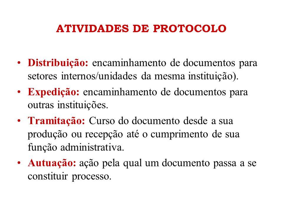 ATIVIDADES DE PROTOCOLO •Distribuição: encaminhamento de documentos para setores internos/unidades da mesma instituição). •Expedição: encaminhamento d