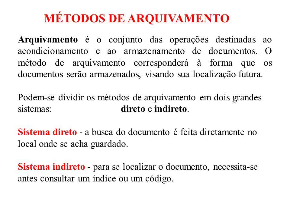 Arquivamento é o conjunto das operações destinadas ao acondicionamento e ao armazenamento de documentos. O método de arquivamento corresponderá à form