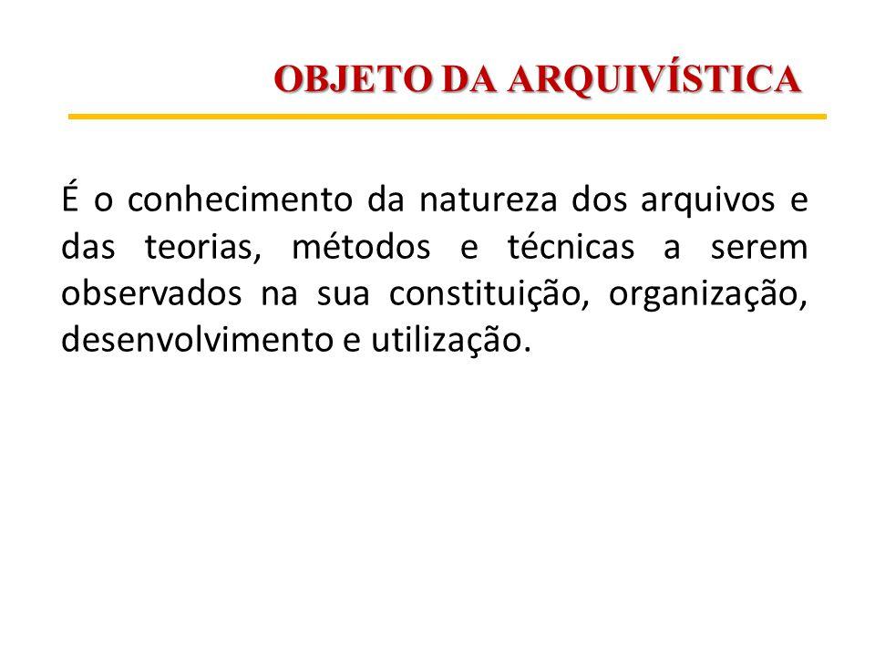 OBJETO DA ARQUIVÍSTICA É o conhecimento da natureza dos arquivos e das teorias, métodos e técnicas a serem observados na sua constituição, organização
