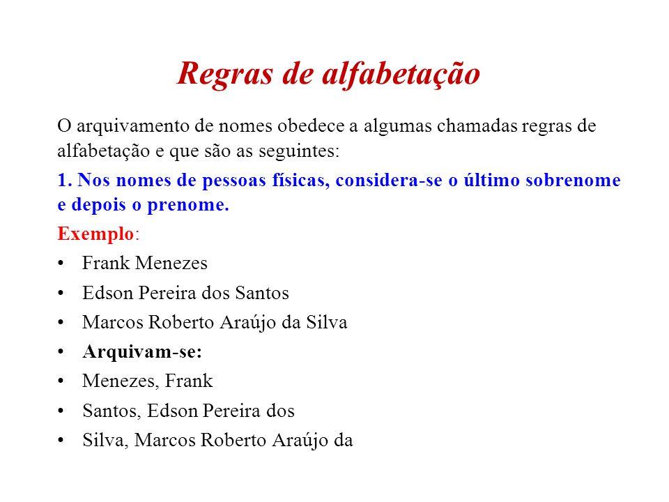 Regras de alfabetação O arquivamento de nomes obedece a algumas chamadas regras de alfabetação e que são as seguintes: 1. Nos nomes de pessoas físicas