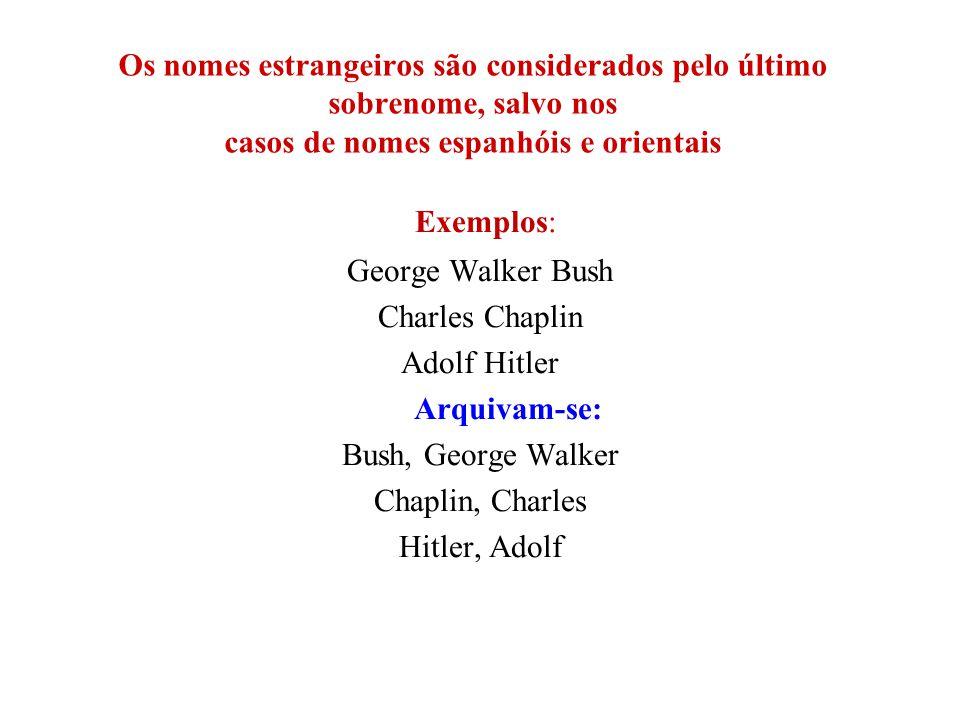 Os nomes estrangeiros são considerados pelo último sobrenome, salvo nos casos de nomes espanhóis e orientais Exemplos: George Walker Bush Charles Chap