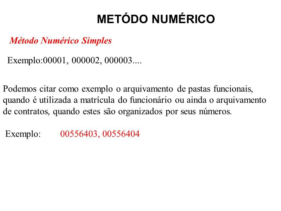METÓDO NUMÉRICO Método Numérico Simples Exemplo:00001, 000002, 000003.... Podemos citar como exemplo o arquivamento de pastas funcionais, quando é uti