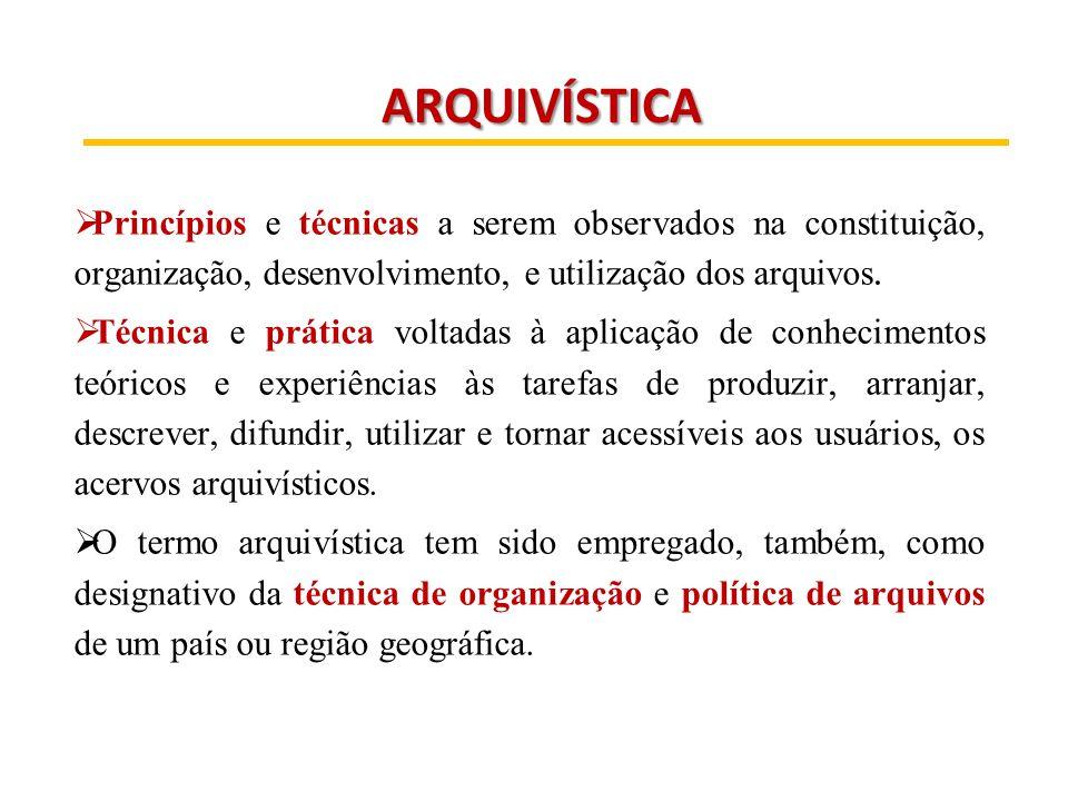 ARQUIVÍSTICA ARQUIVÍSTICA  Princípios e técnicas a serem observados na constituição, organização, desenvolvimento, e utilização dos arquivos.  Técni