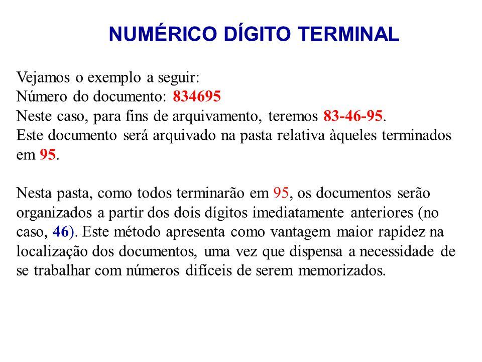 Vejamos o exemplo a seguir: Número do documento: 834695 Neste caso, para fins de arquivamento, teremos 83-46-95. Este documento será arquivado na past