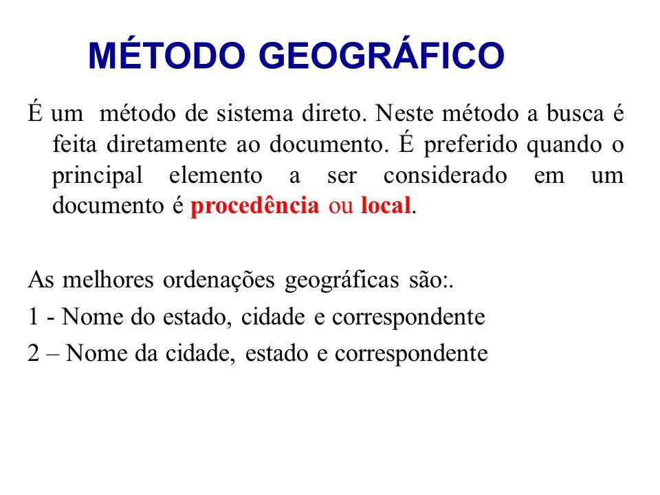 MÉTODO GEOGRÁFICO É um método de sistema direto. Neste método a busca é feita diretamente ao documento. É preferido quando o principal elemento a ser