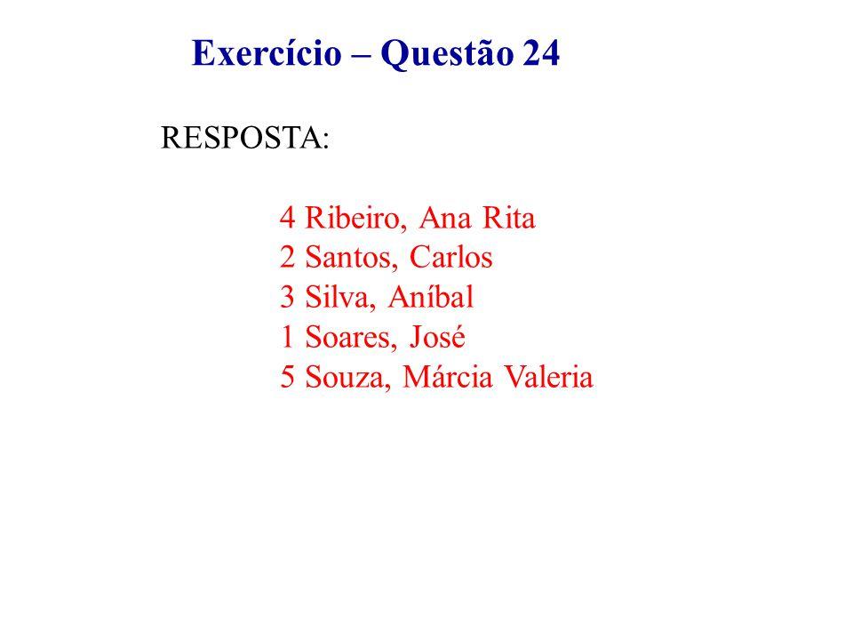 Exercício – Questão 24 RESPOSTA: 4 Ribeiro, Ana Rita 2 Santos, Carlos 3 Silva, Aníbal 1 Soares, José 5 Souza, Márcia Valeria