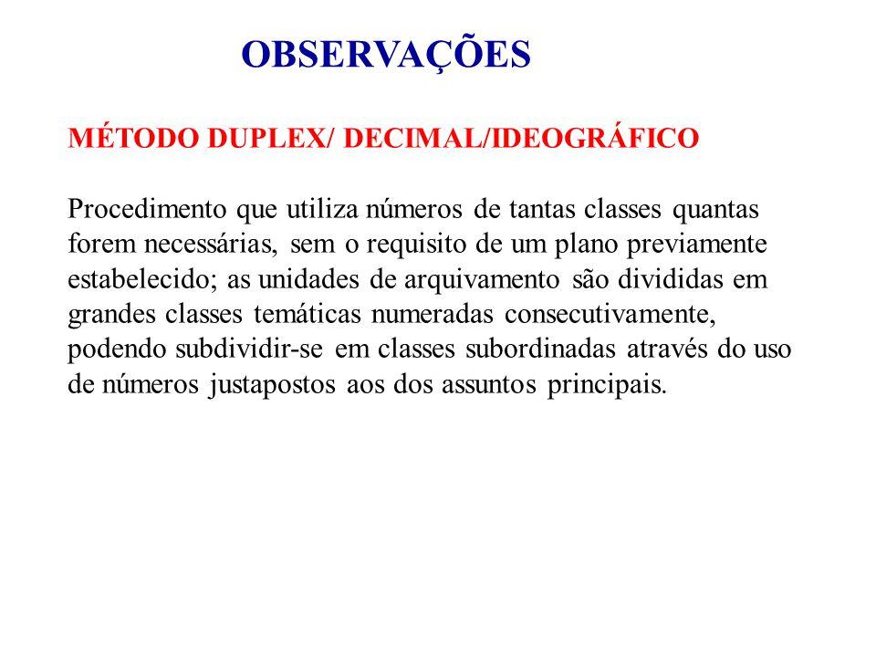 OBSERVAÇÕES MÉTODO DUPLEX/ DECIMAL/IDEOGRÁFICO Procedimento que utiliza números de tantas classes quantas forem necessárias, sem o requisito de um pla