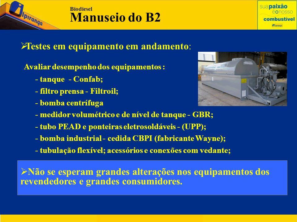  Testes em equipamento em andamento: Avaliar desempenho dos equipamentos : - tanque - Confab; - filtro prensa - Filtroil; - bomba centrífuga - medidor volumétrico e de nível de tanque - GBR; - tubo PEAD e ponteiras eletrosoldáveis - (UPP); - bomba industrial - cedida CBPI (fabricante Wayne); - tubulação flexível; acessórios e conexões com vedante;  Não se esperam grandes alterações nos equipamentos dos revendedores e grandes consumidores.