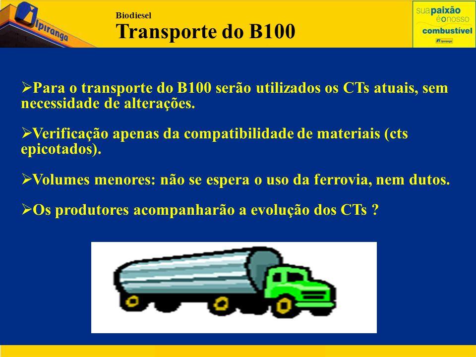 Biodiesel Transporte do B100  Para o transporte do B100 serão utilizados os CTs atuais, sem necessidade de alterações.