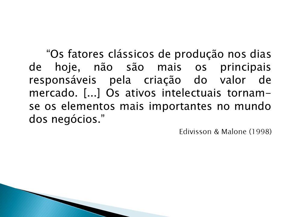 """""""Os fatores clássicos de produção nos dias de hoje, não são mais os principais responsáveis pela criação do valor de mercado. [...] Os ativos intelect"""