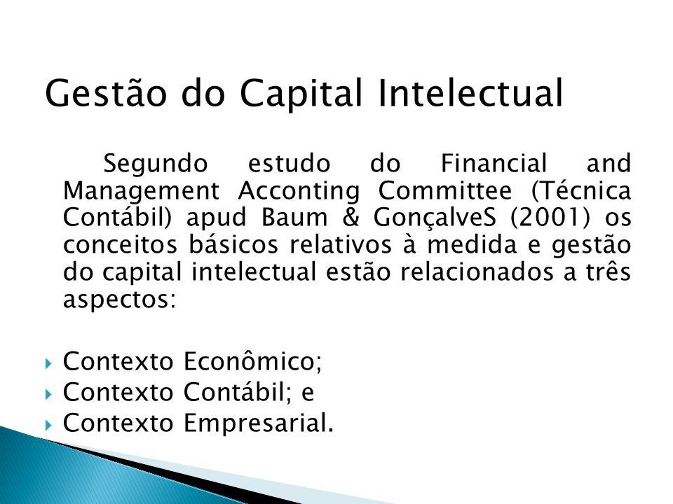 Gestão do Capital Intelectual Segundo estudo do Financial and Management Acconting Committee (Técnica Contábil) apud Baum & GonçalveS (2001) os concei