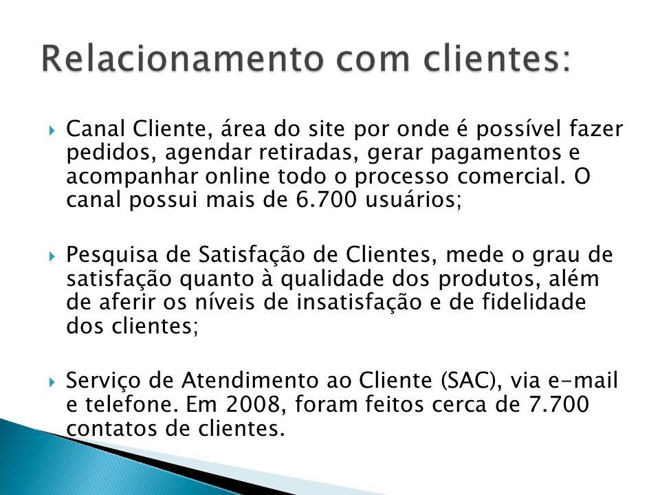  Canal Cliente, área do site por onde é possível fazer pedidos, agendar retiradas, gerar pagamentos e acompanhar online todo o processo comercial. O