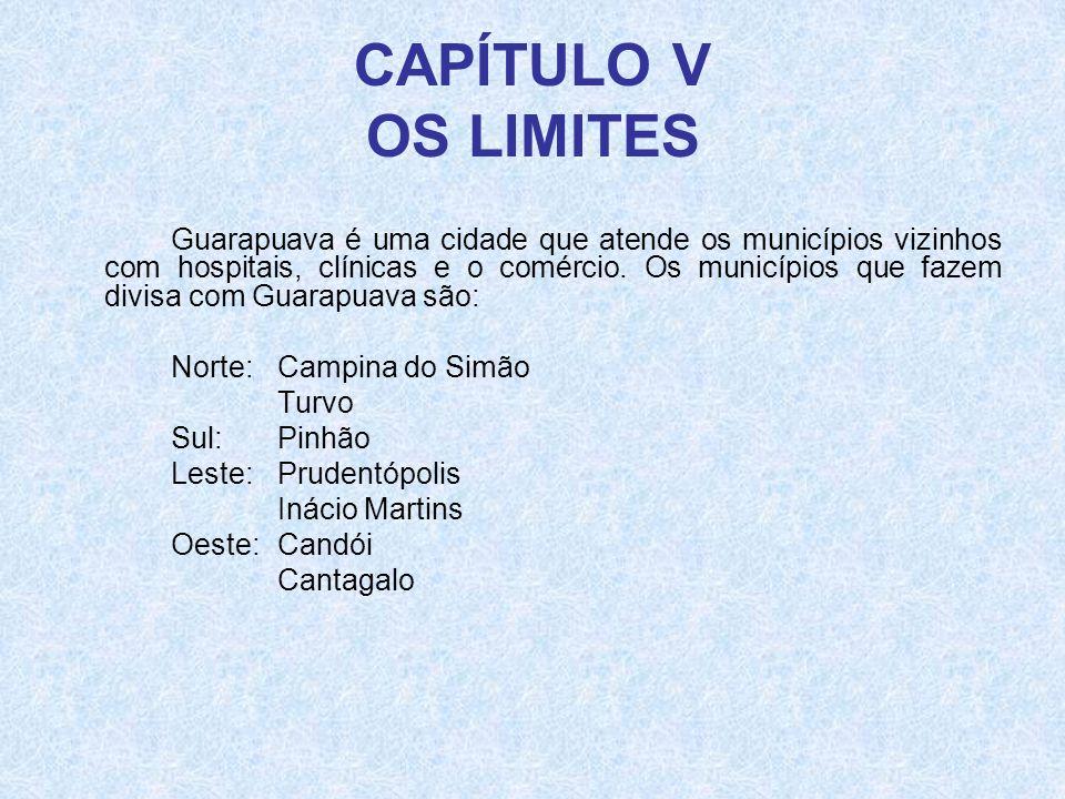 CAPÍTULO V OS LIMITES Guarapuava é uma cidade que atende os municípios vizinhos com hospitais, clínicas e o comércio. Os municípios que fazem divisa c