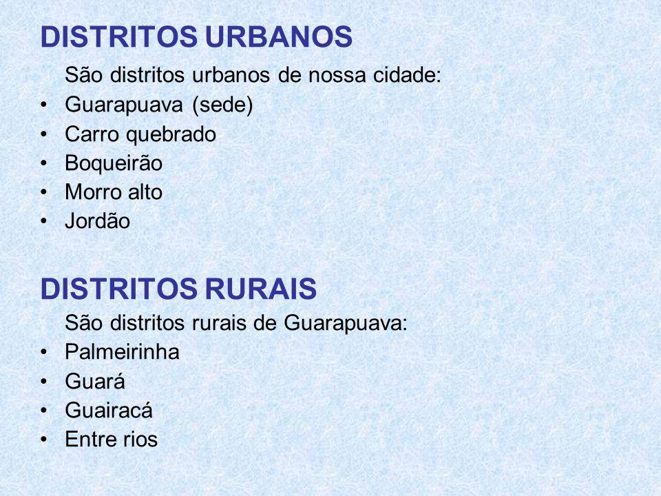 DISTRITOS URBANOS São distritos urbanos de nossa cidade: •Guarapuava (sede) •Carro quebrado •Boqueirão •Morro alto •Jordão DISTRITOS RURAIS São distri