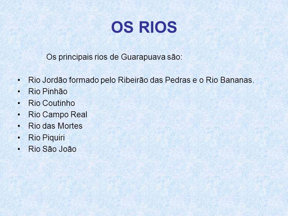 OS RIOS Os principais rios de Guarapuava são: •Rio Jordão formado pelo Ribeirão das Pedras e o Rio Bananas. •Rio Pinhão •Rio Coutinho •Rio Campo Real