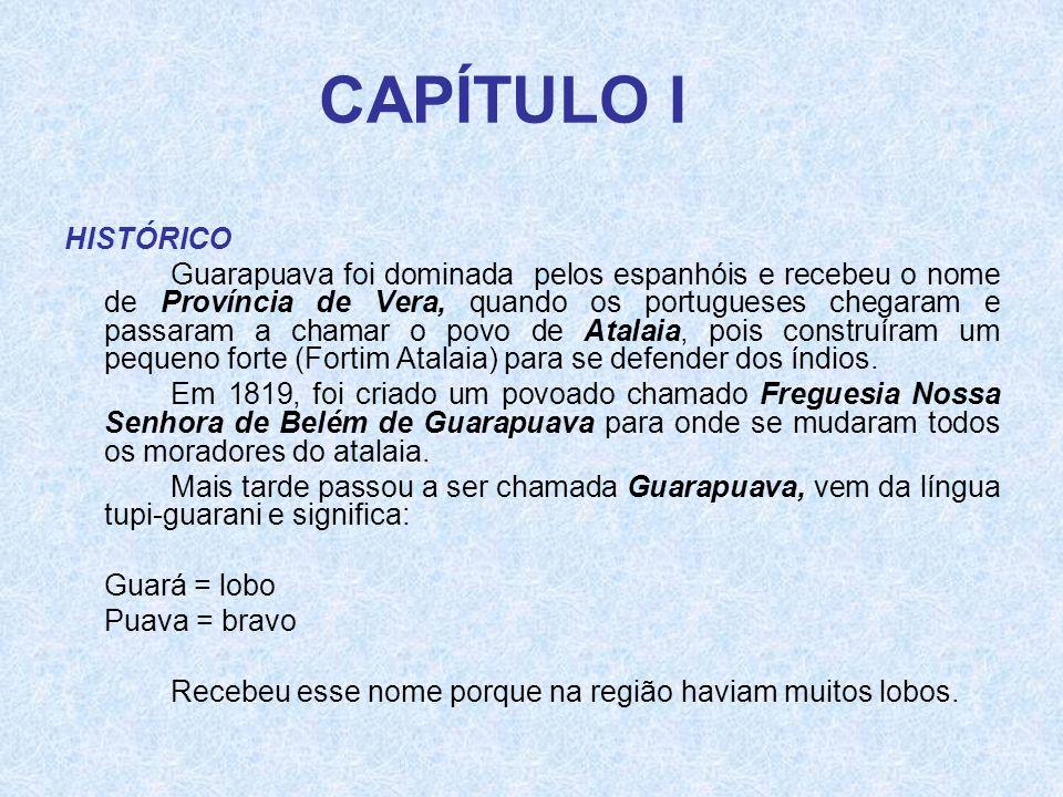 CAPÍTULO I HISTÓRICO Guarapuava foi dominada pelos espanhóis e recebeu o nome de Província de Vera, quando os portugueses chegaram e passaram a chamar