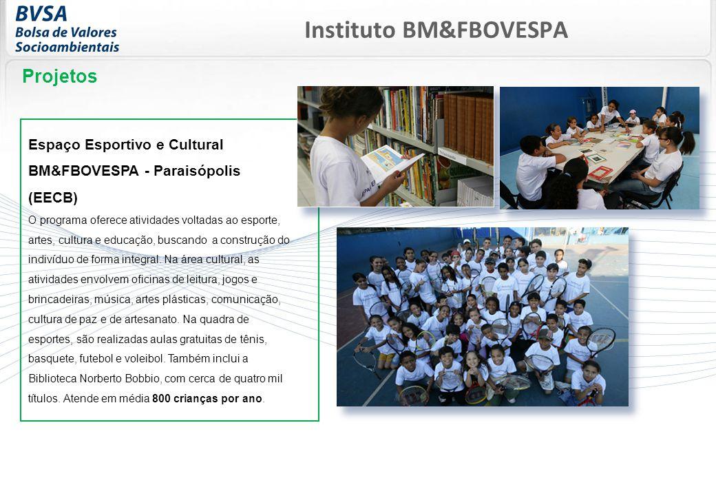 Projetos Espaço Esportivo e Cultural BM&FBOVESPA - Paraisópolis (EECB) O programa oferece atividades voltadas ao esporte, artes, cultura e educação, buscando a construção do indivíduo de forma integral.