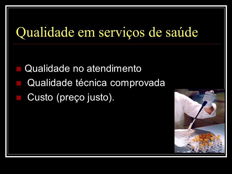Qualidade em serviços de saúde  Qualidade no atendimento  Qualidade técnica comprovada  Custo (preço justo).