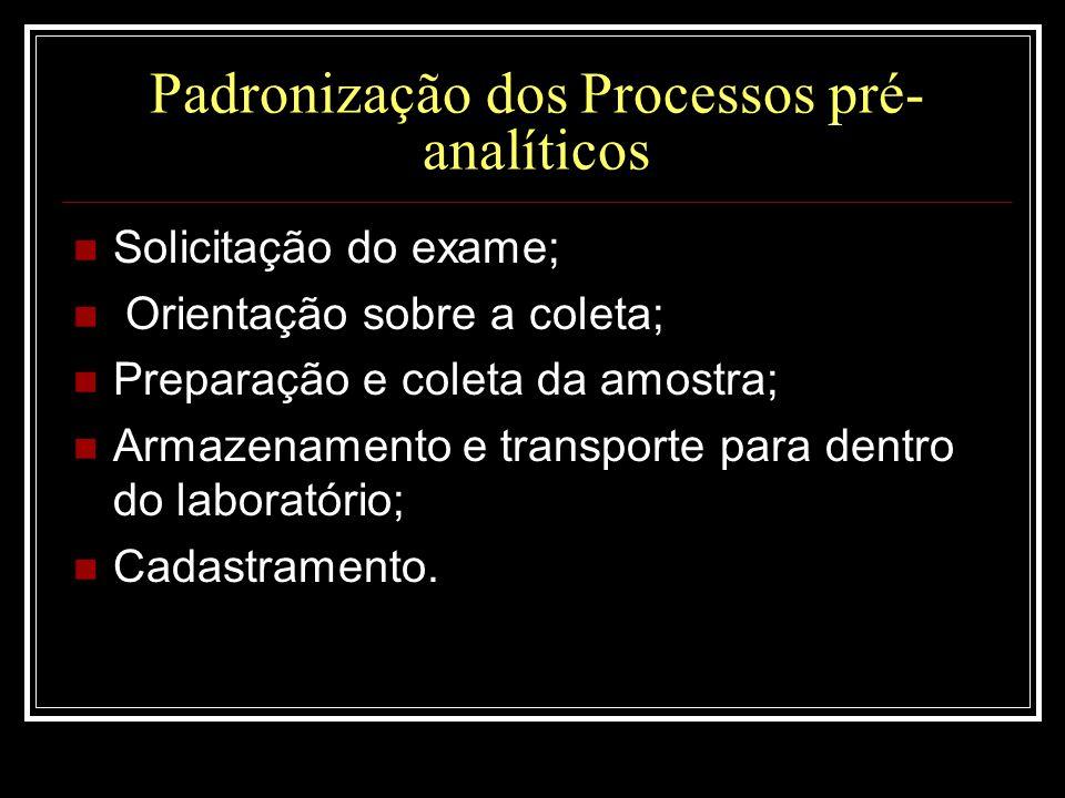 Padronização dos Processos pré- analíticos  Solicitação do exame;  Orientação sobre a coleta;  Preparação e coleta da amostra;  Armazenamento e tr
