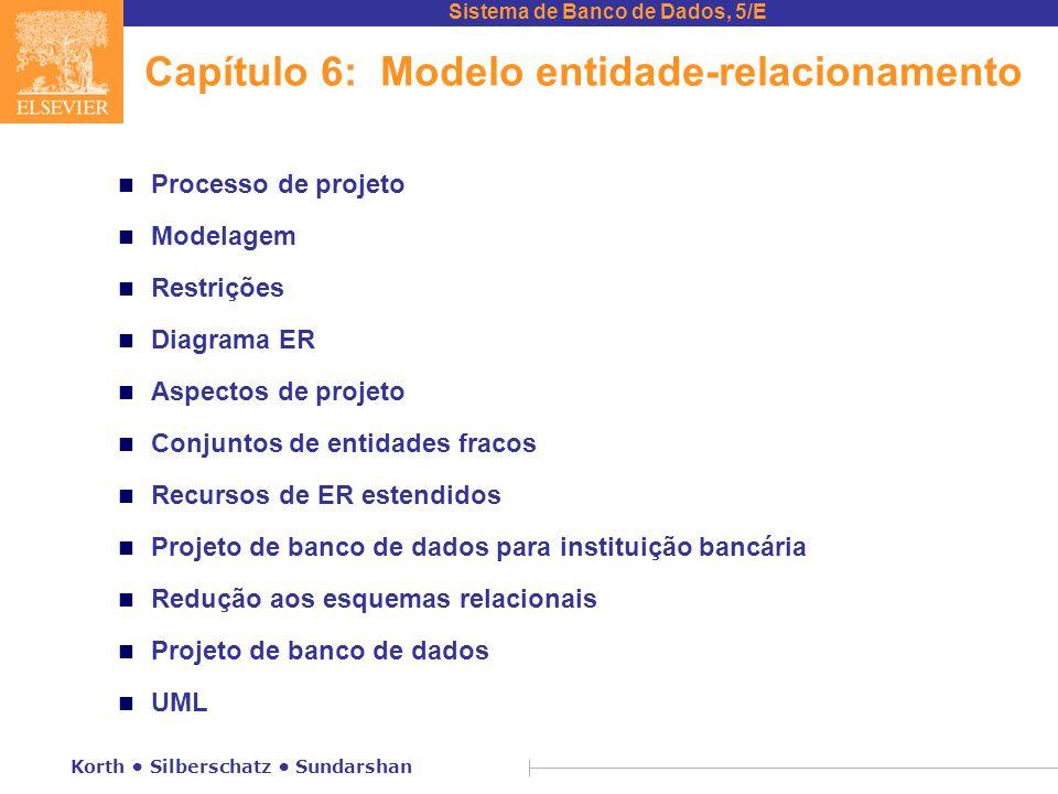 Sistema de Banco de Dados, 5/E Korth • Silberschatz • Sundarshan Capítulo 6: Modelo entidade-relacionamento n Processo de projeto n Modelagem n Restri