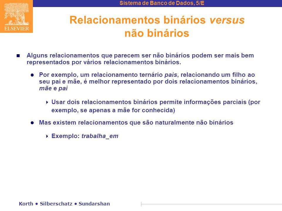 Sistema de Banco de Dados, 5/E Korth • Silberschatz • Sundarshan Relacionamentos binários versus não binários n Alguns relacionamentos que parecem ser
