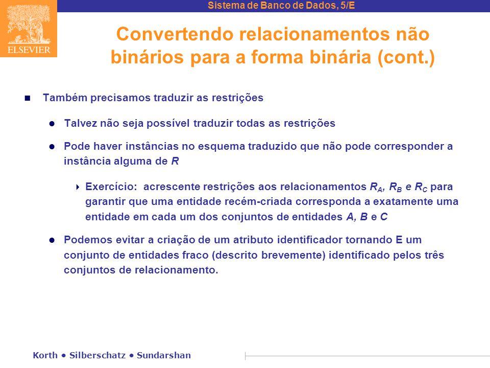 Sistema de Banco de Dados, 5/E Korth • Silberschatz • Sundarshan Convertendo relacionamentos não binários para a forma binária (cont.) n Também precis