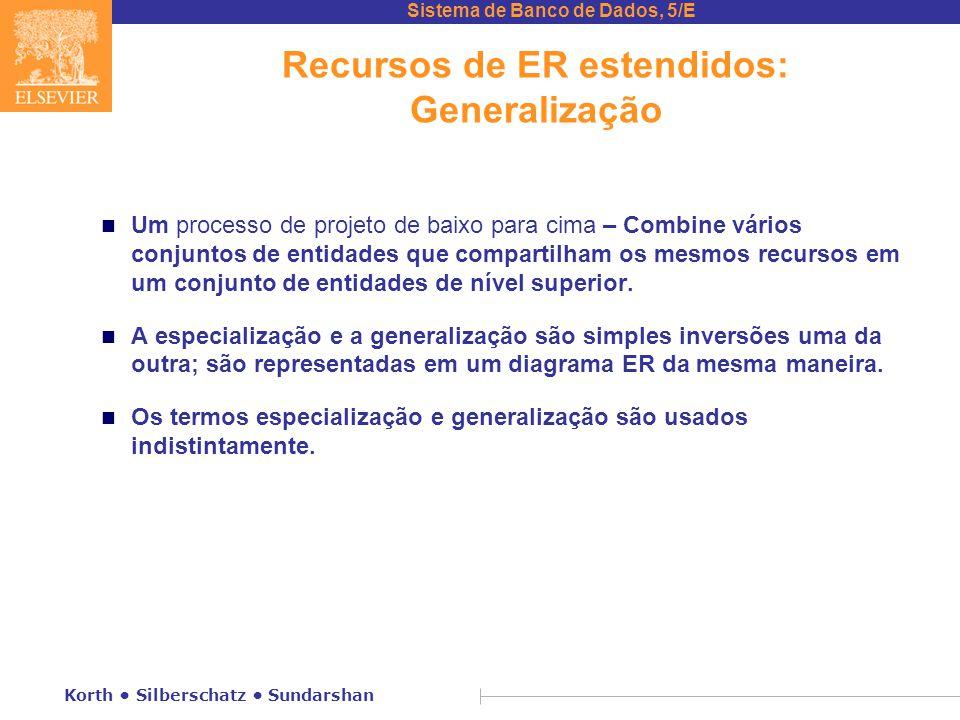 Sistema de Banco de Dados, 5/E Korth • Silberschatz • Sundarshan Recursos de ER estendidos: Generalização n Um processo de projeto de baixo para cima