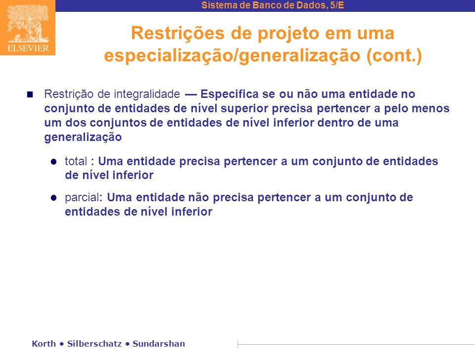 Sistema de Banco de Dados, 5/E Korth • Silberschatz • Sundarshan Restrições de projeto em uma especialização/generalização (cont.) n Restrição de inte