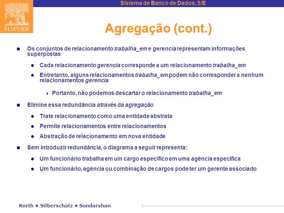 Sistema de Banco de Dados, 5/E Korth • Silberschatz • Sundarshan Agregação (cont.) n Os conjuntos de relacionamento trabalha_em e gerencia representam