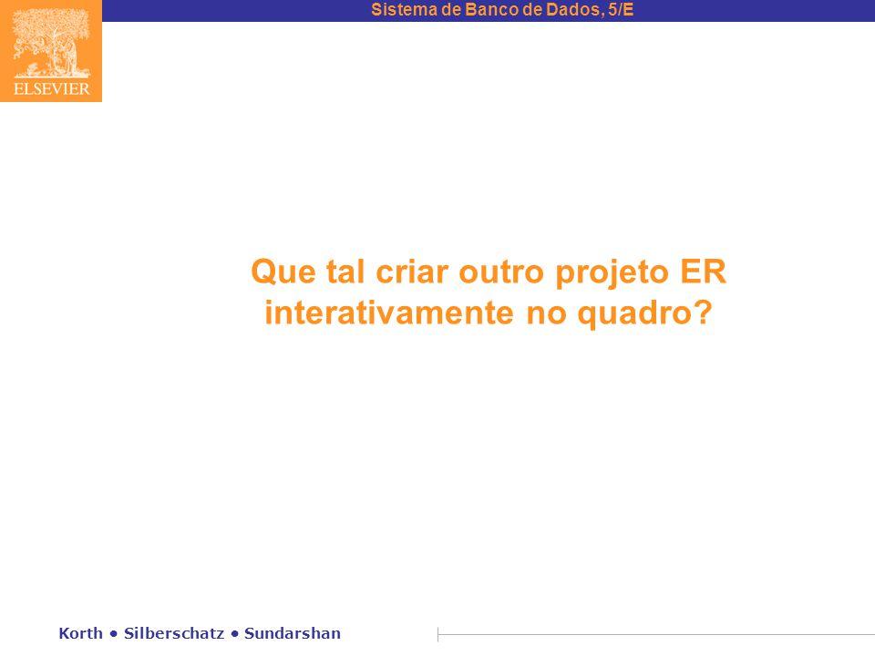 Sistema de Banco de Dados, 5/E Korth • Silberschatz • Sundarshan Que tal criar outro projeto ER interativamente no quadro?