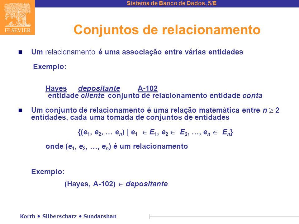 Sistema de Banco de Dados, 5/E Korth • Silberschatz • Sundarshan Diagrama de classe UML (cont.) n As restrições de cardinalidade são especificadas na forma l..h, onde l indica o mínimo e h, o número máximo de relacionamentos em que um conjunto de entidades pode participar.