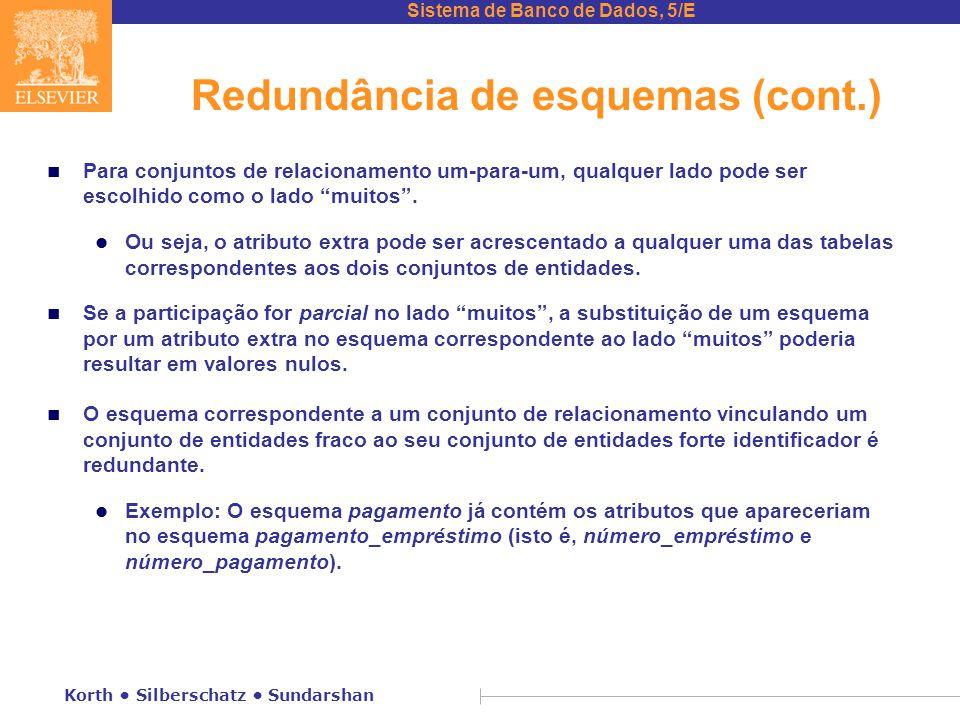 Sistema de Banco de Dados, 5/E Korth • Silberschatz • Sundarshan Redundância de esquemas (cont.) n Para conjuntos de relacionamento um-para-um, qualqu