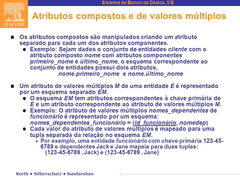 Sistema de Banco de Dados, 5/E Korth • Silberschatz • Sundarshan Atributos compostos e de valores múltiplos n Os atributos compostos são manipulados c