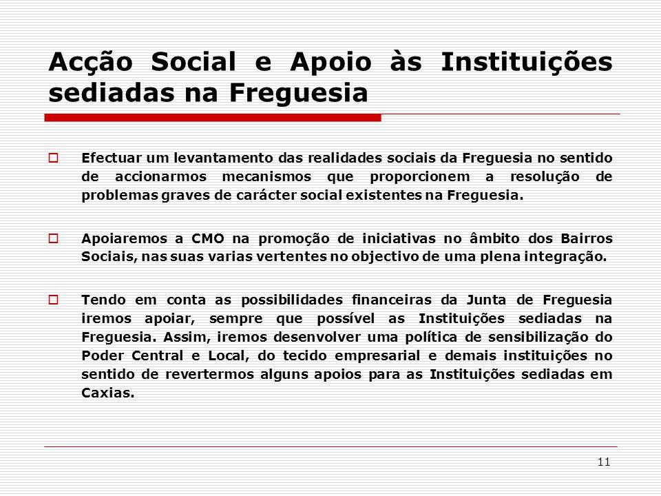 11 Acção Social e Apoio às Instituições sediadas na Freguesia  Efectuar um levantamento das realidades sociais da Freguesia no sentido de accionarmos