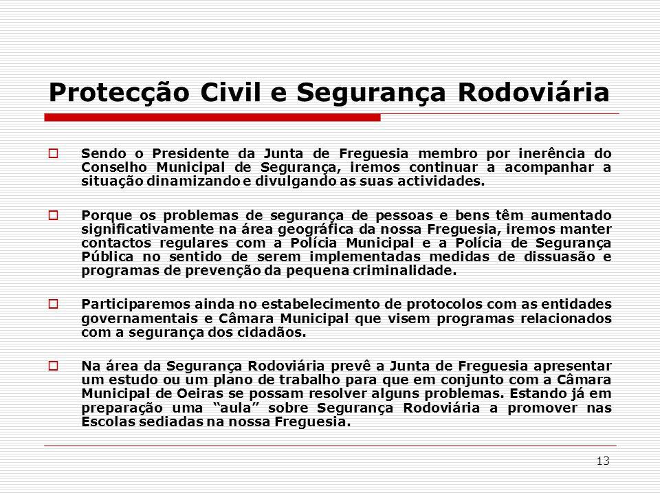 13 Protecção Civil e Segurança Rodoviária  Sendo o Presidente da Junta de Freguesia membro por inerência do Conselho Municipal de Segurança, iremos continuar a acompanhar a situação dinamizando e divulgando as suas actividades.