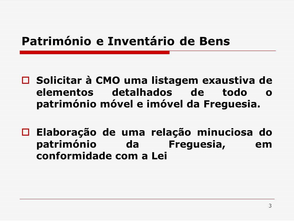3 Património e Inventário de Bens  Solicitar à CMO uma listagem exaustiva de elementos detalhados de todo o património móvel e imóvel da Freguesia.