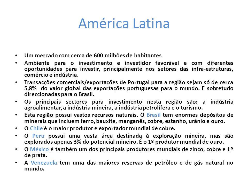 América Latina • Um mercado com cerca de 600 milhões de habitantes • Ambiente para o investimento e investidor favorável e com diferentes oportunidades para investir, principalmente nos setores das infra-estruturas, comércio e indústria.