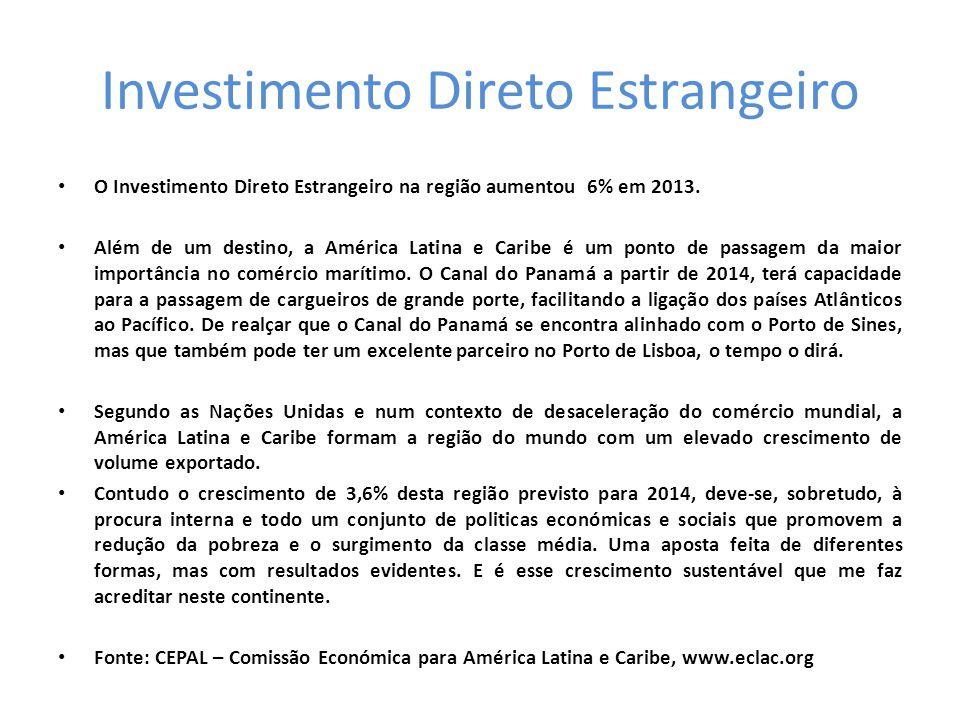Investimento Direto Estrangeiro • O Investimento Direto Estrangeiro na região aumentou 6% em 2013.