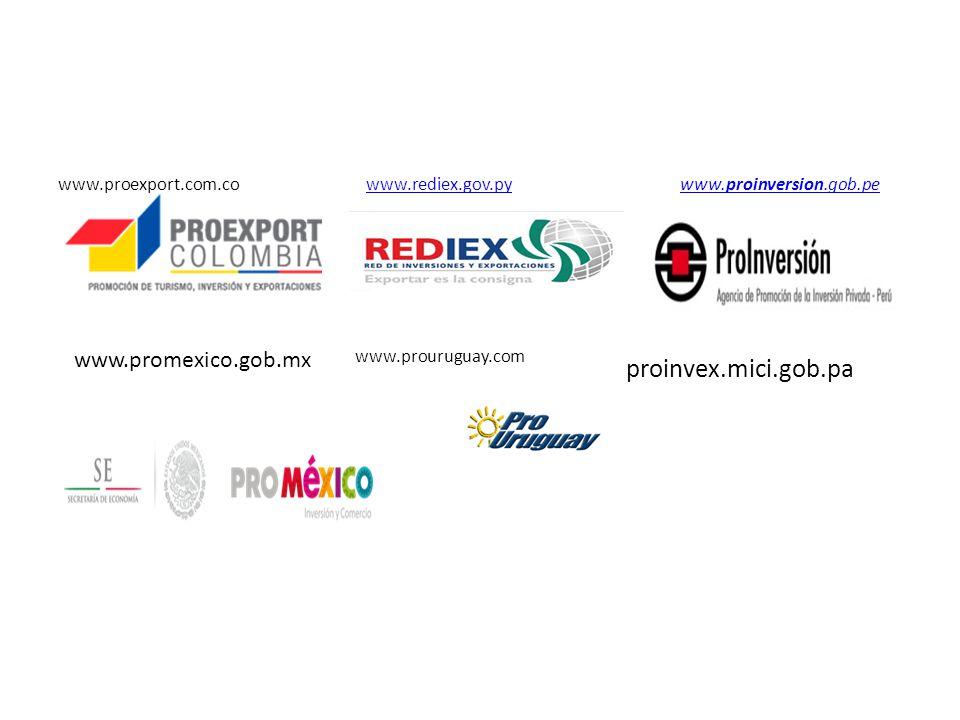 www.proexport.com.co www.rediex.gov.py www.proinversion.gob.pewww.rediex.gov.pywww.proinversion.gob.pe www.promexico.gob.mx www.prouruguay.com proinvex.mici.gob.pa