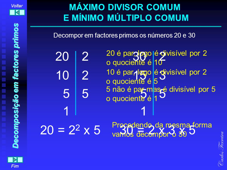 20 1 5 2 210 5 Carlos Ferreira Fim Voltar 30 1 5 2 315 5 20 = 2 2 x 530 = 2 x 3 x 5 A ordem dos factores primos é irrelevante.