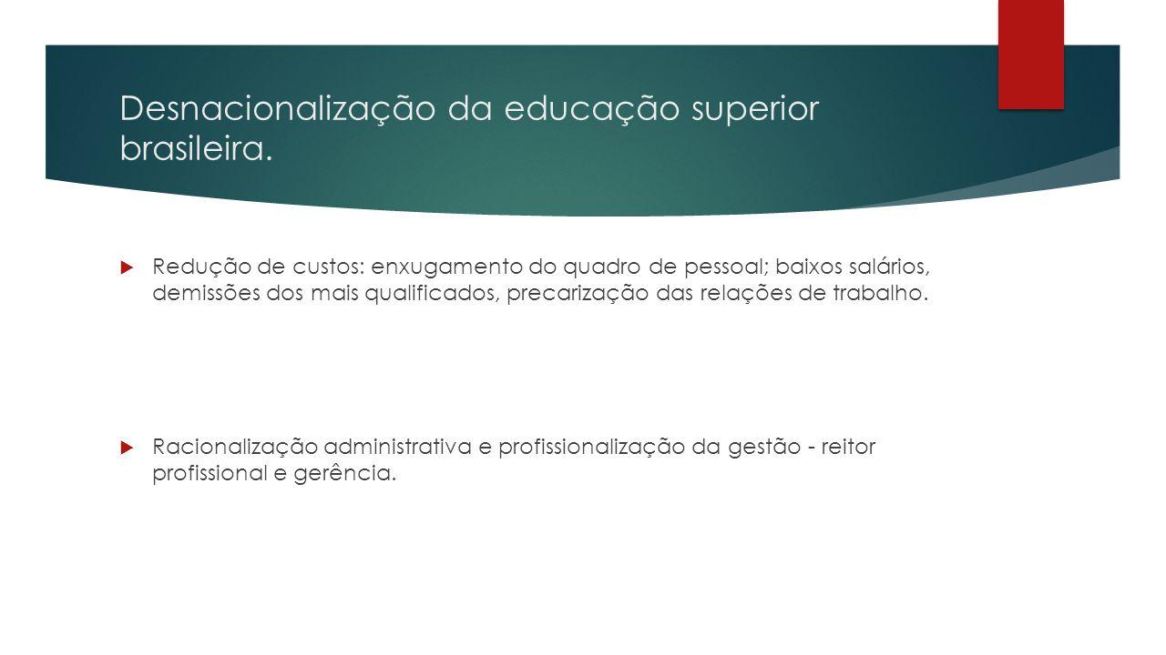 Desnacionalização da educação superior brasileira.  Redução de custos: enxugamento do quadro de pessoal; baixos salários, demissões dos mais qualific