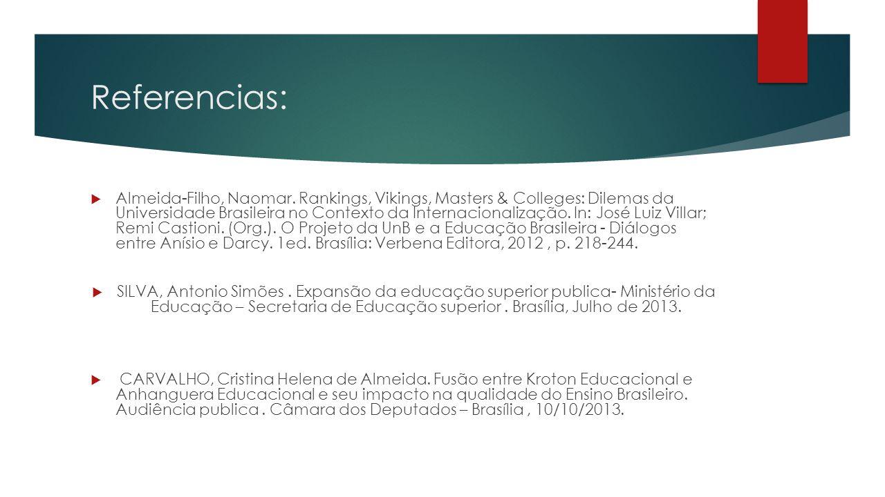 Referencias:  Almeida-Filho, Naomar. Rankings, Vikings, Masters & Colleges: Dilemas da Universidade Brasileira no Contexto da Internacionalização. In