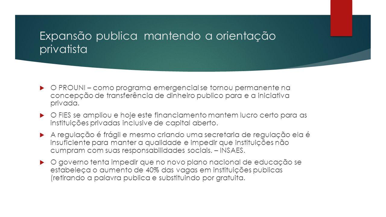 Expansão publica mantendo a orientação privatista  O PROUNI – como programa emergencial se tornou permanente na concepção de transferência de dinheiro publico para e a iniciativa privada.