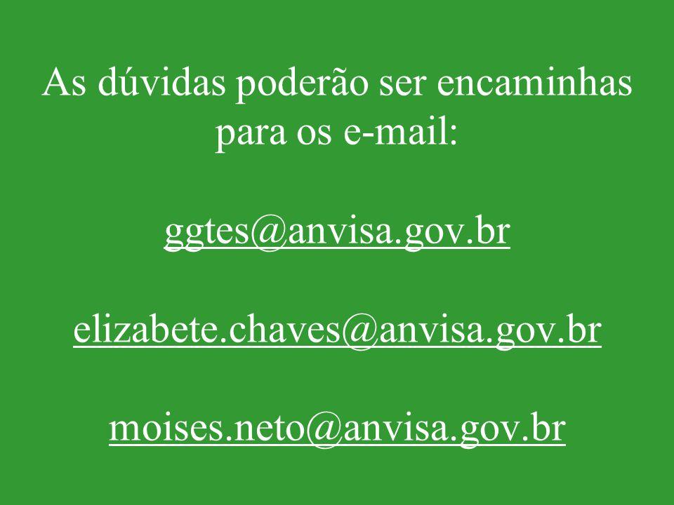 As dúvidas poderão ser encaminhas para os e-mail: ggtes@anvisa.gov.br elizabete.chaves@anvisa.gov.br moises.neto@anvisa.gov.br