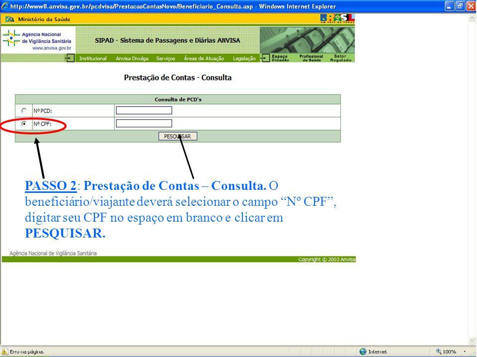 PASSO 2: Prestação de Contas – Consulta.