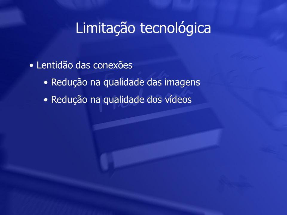 Limitação tecnológica • Lentidão das conexões • Redução na qualidade das imagens • Redução na qualidade dos vídeos