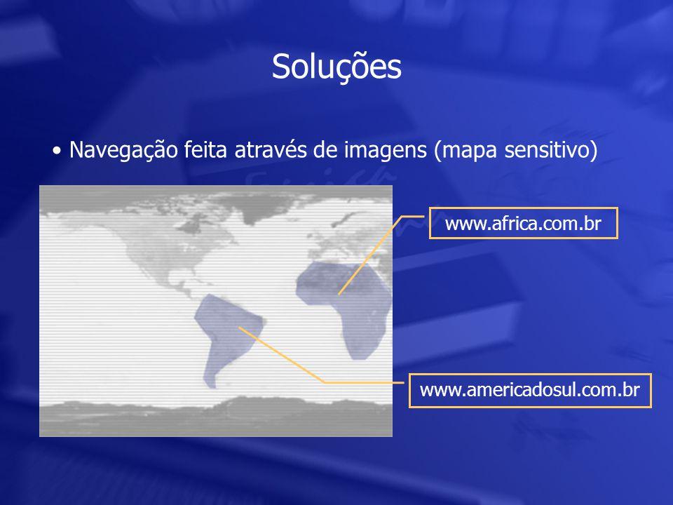 Soluções • Navegação feita através de imagens (mapa sensitivo) www.africa.com.br www.americadosul.com.br