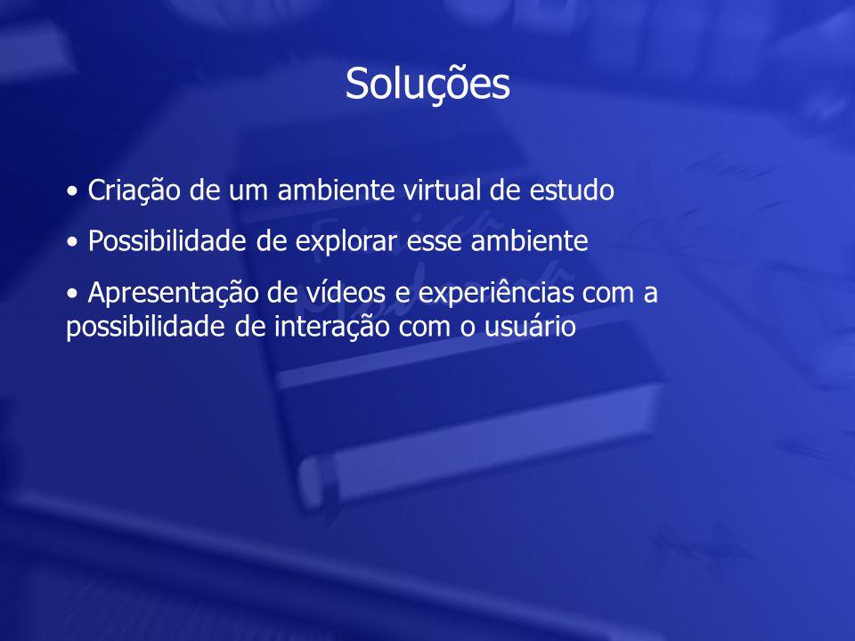 • Criação de um ambiente virtual de estudo • Possibilidade de explorar esse ambiente • Apresentação de vídeos e experiências com a possibilidade de interação com o usuário Soluções