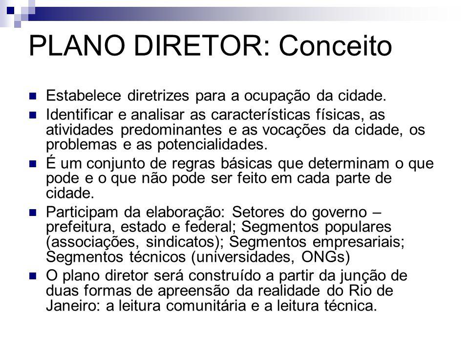 PLANO DIRETOR: Conceito  Estabelece diretrizes para a ocupação da cidade.  Identificar e analisar as características físicas, as atividades predomin